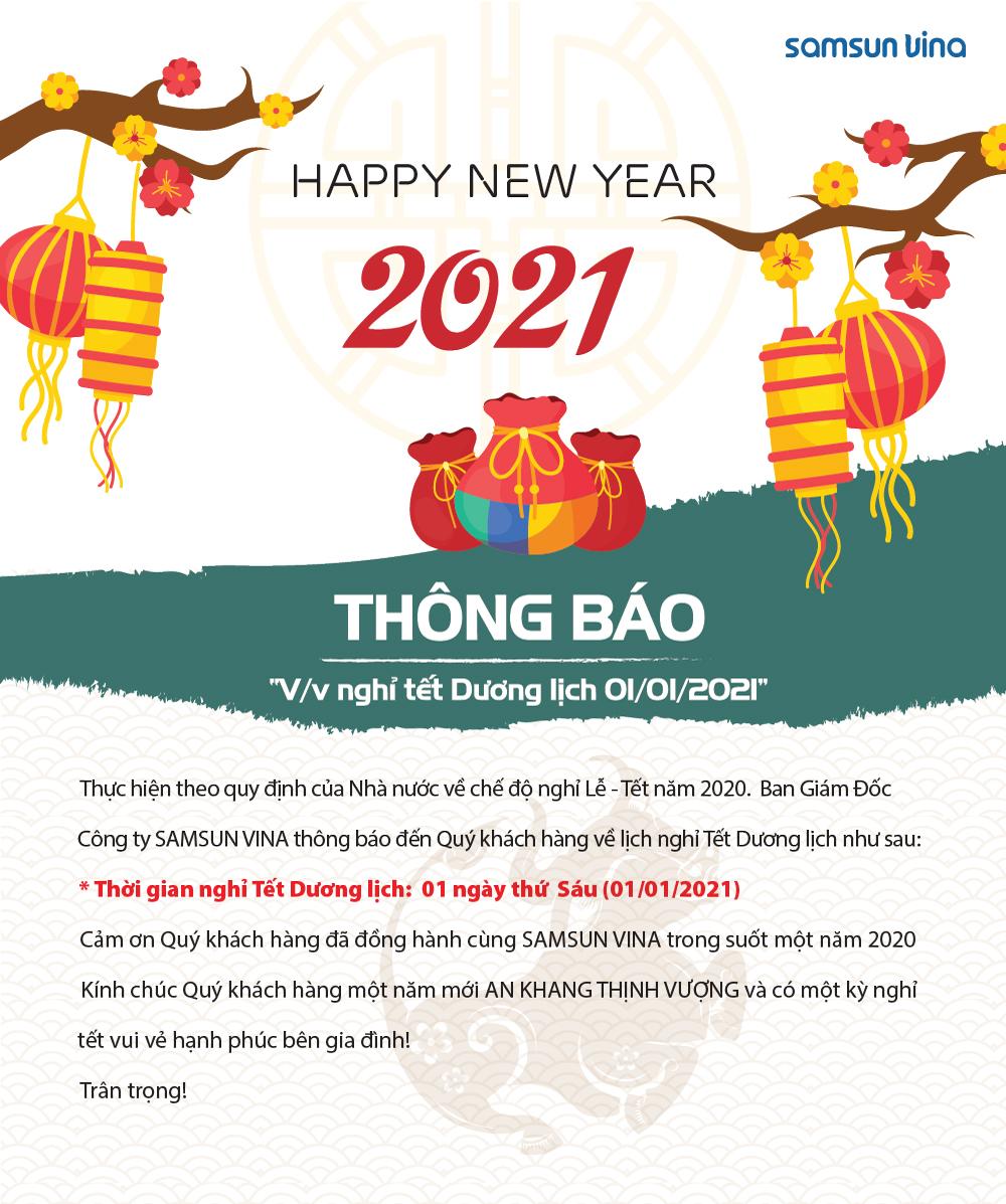 Thông báo V/v nghỉ tết Dương lịch 1/1/2021