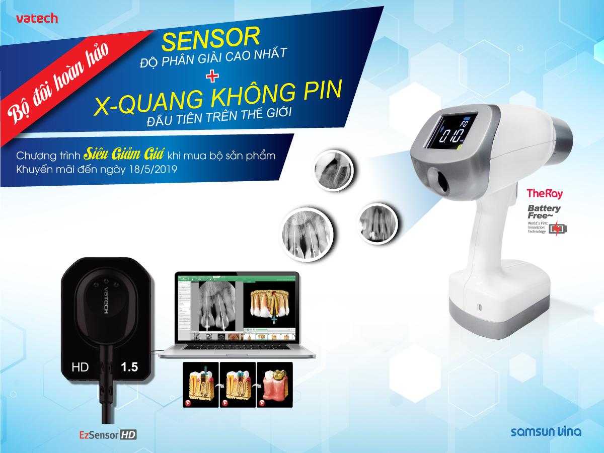 Giảm giá cực lớn khi mua bộ sản phẩm Sensor Vatech và Máy chụp x-quang cầm tay The Ray